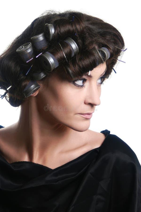 curlers włosy głowy rolowników kobieta obraz royalty free