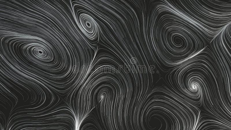 Curles lisos das cordas do metal no fundo preto ilustração do vetor