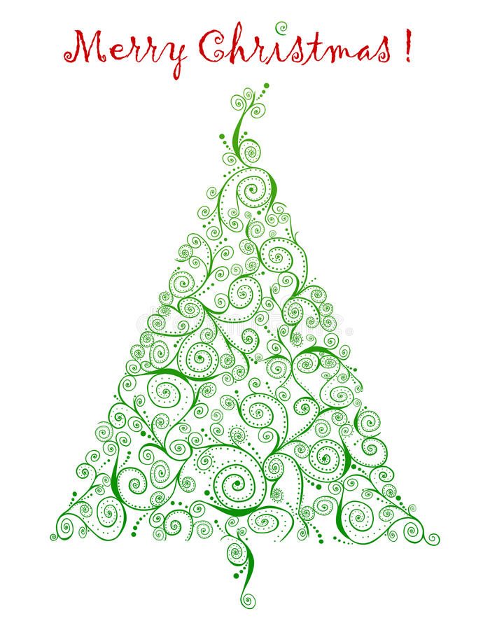 Curlicue圣诞树问候 向量例证