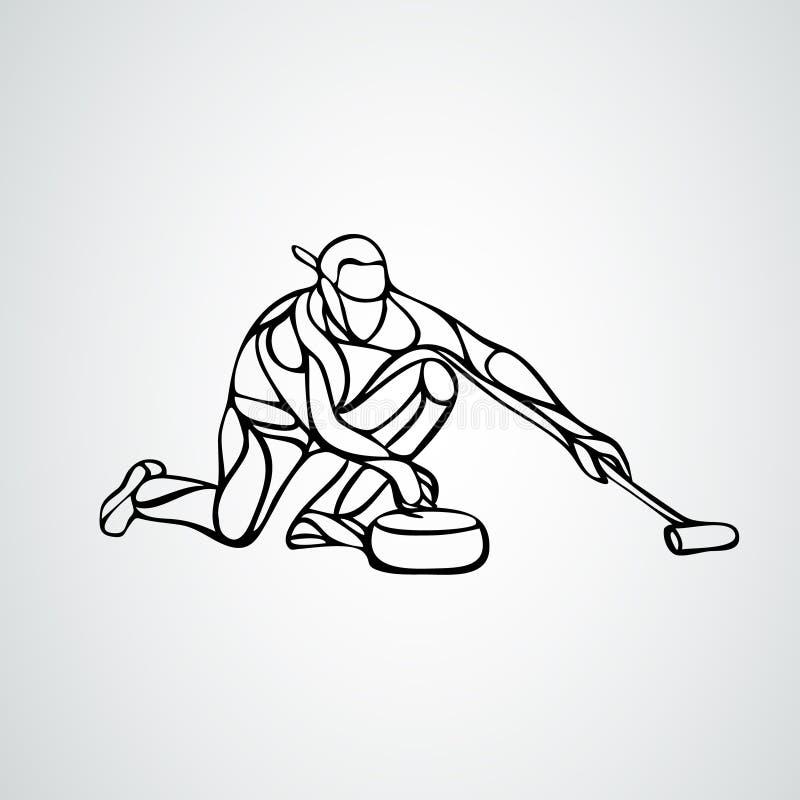 Curling-atleet, geïsoleerd vectorsilhouet Curler-vector royalty-vrije illustratie
