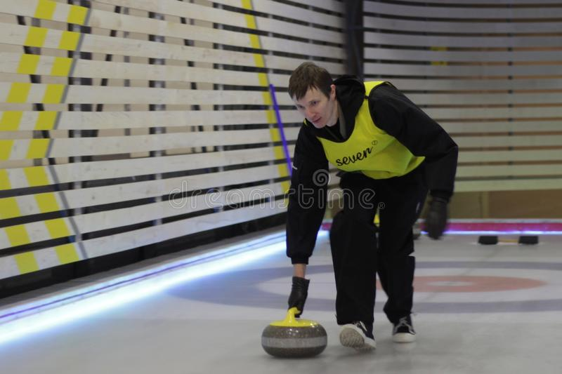 curling Club krullende ventilators stock afbeeldingen