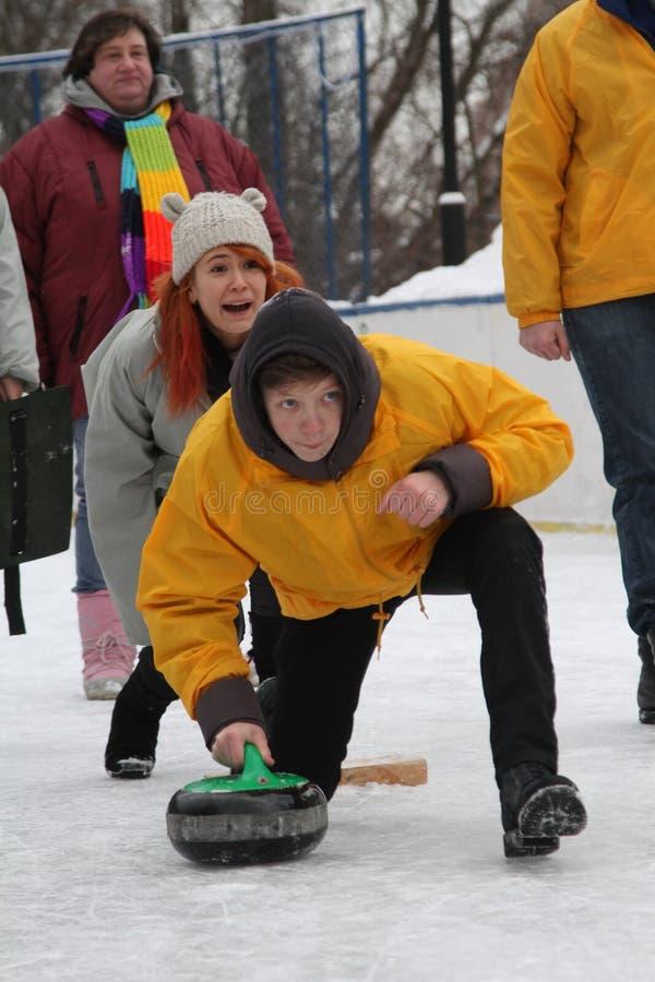 curling Fans que se encrespan del club fotografía de archivo