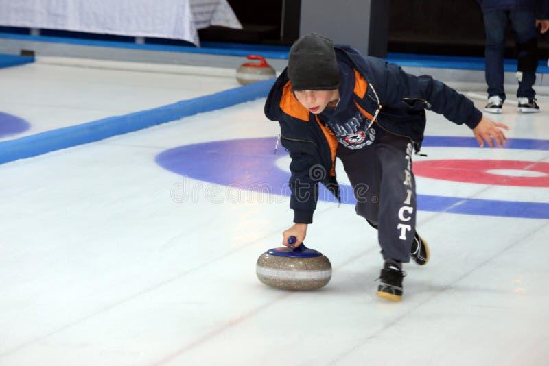 curling Fans que se encrespan del club imagen de archivo