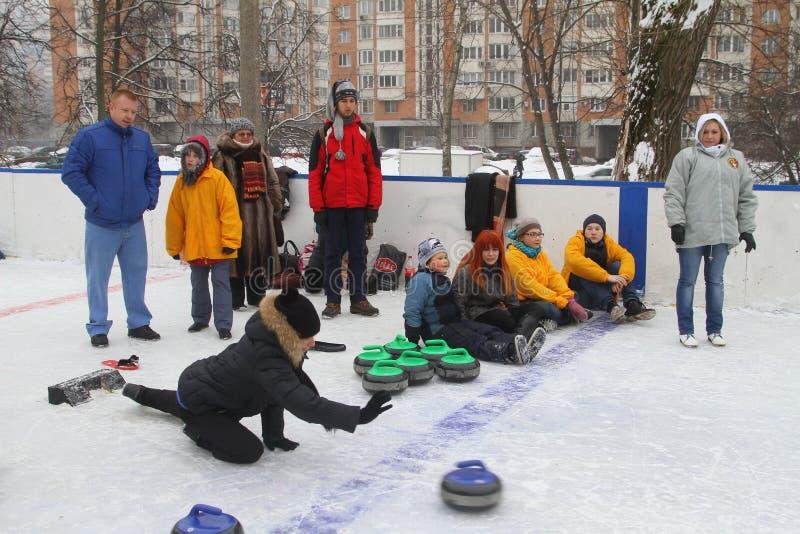curling Fans que se encrespan del club imagen de archivo libre de regalías