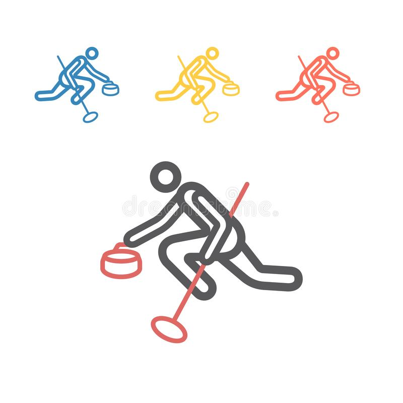 Curling game sport line icon. Vector signs for web graphics. royalty free stock images