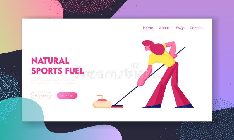Curling Mededingingswebsite portaalpagina Sportvrouw die Materiaal gebruikt voor het Krullen van de Borstel van het Holding aan d royalty-vrije illustratie