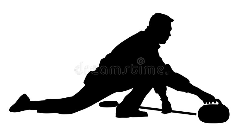 Curling player - man royalty free stock photo