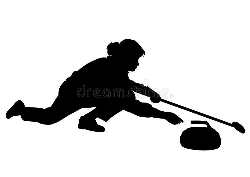 Curling player - woman stock photo