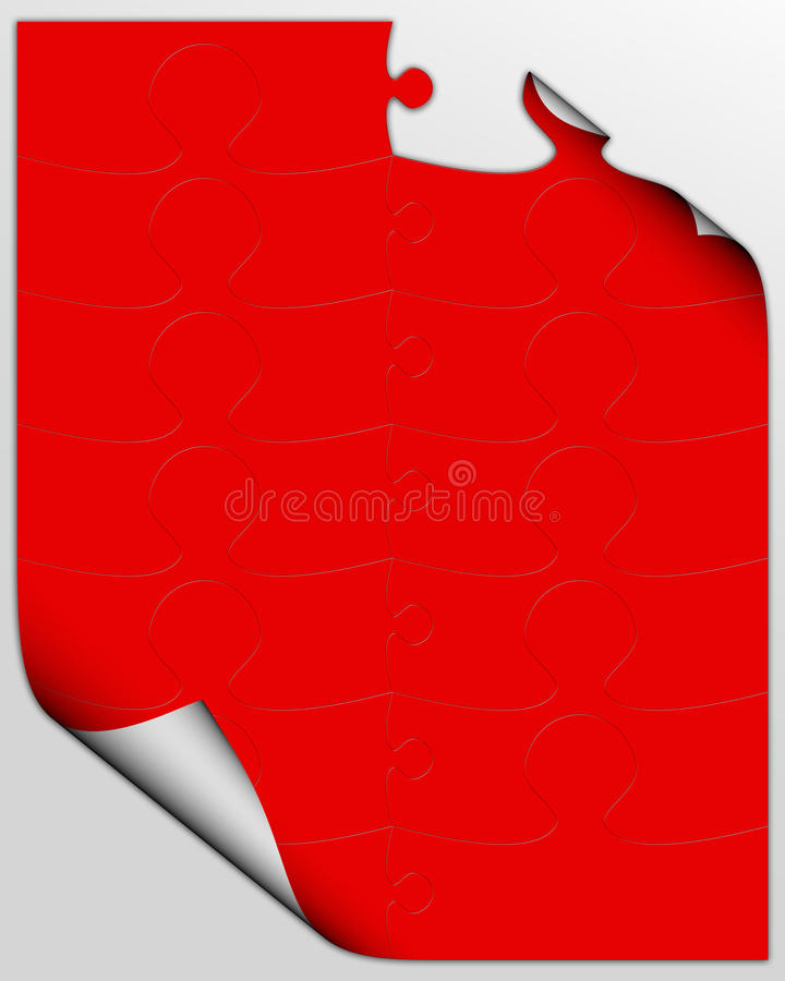 Curling red puzzle sheet stock illustration