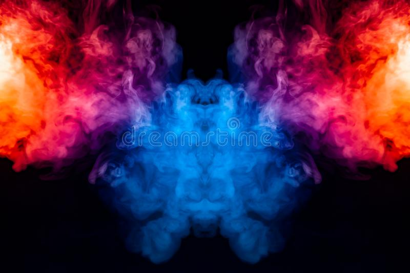Curling smoke evaporating curls in the form of a spectacular, mystical head, highlighted with blue, red, purple on an isolated vector illustration