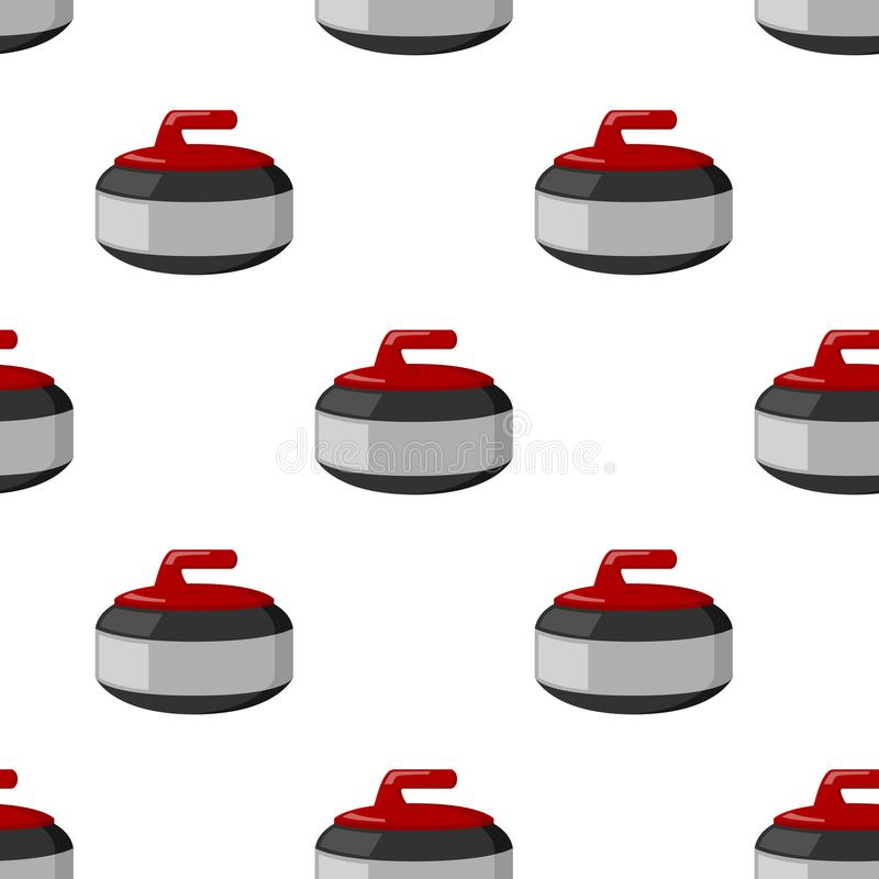 Curling Stone Flat Icon Seamless Pattern. A seamless pattern with a curling stone flat icon, isolated on white background. Useful also as design element for royalty free illustration