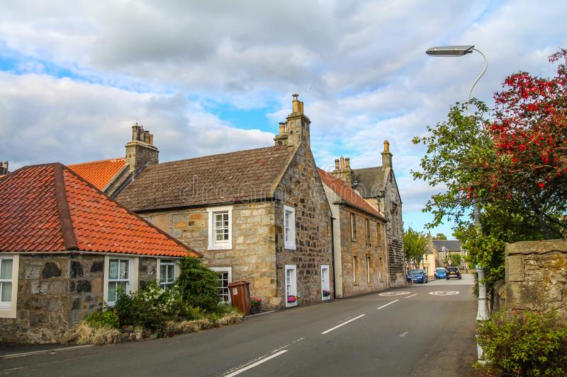 Curloss, a village and former royal burgh, and parish, in Fife Scotland. Curloss, a village and former royal burgh, and parish, in Fife, Summer travel to royalty free stock image