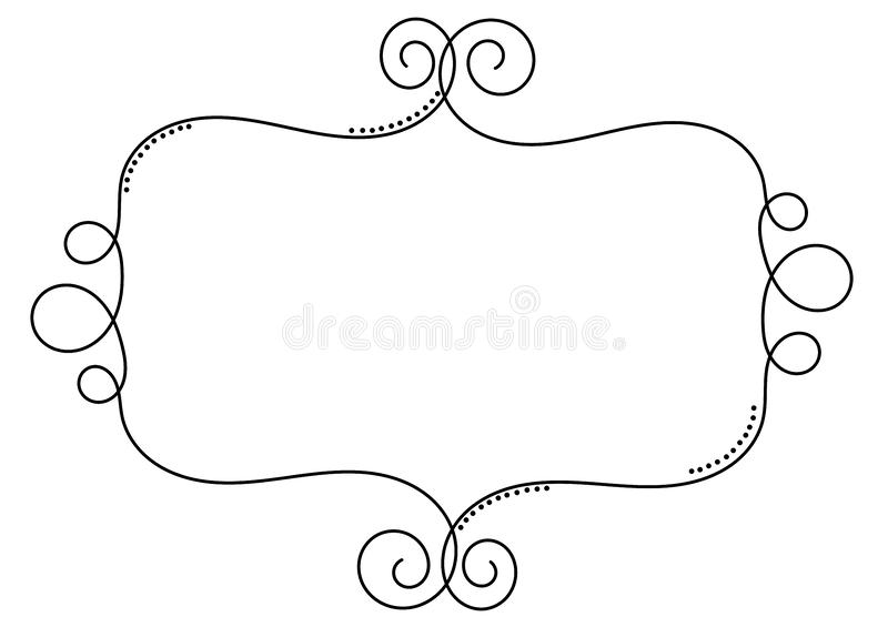 Curls wire border frame vintage template stock illustration