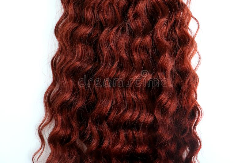 Curly auburn hair isolated on a white background isolated stock image