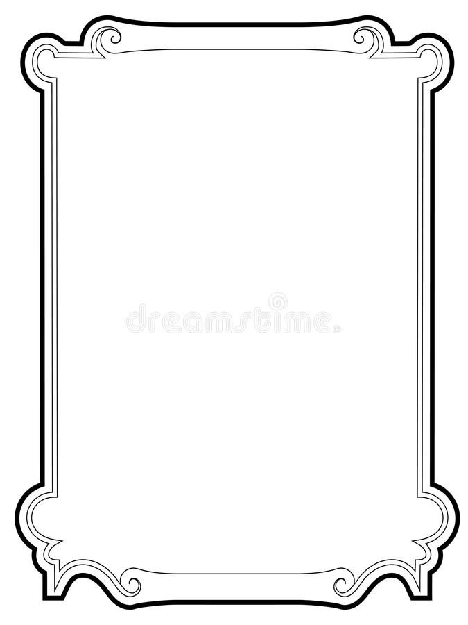 Curly baroque cartouche frame black. Curly baroque cartouche retro frame black vector illustration