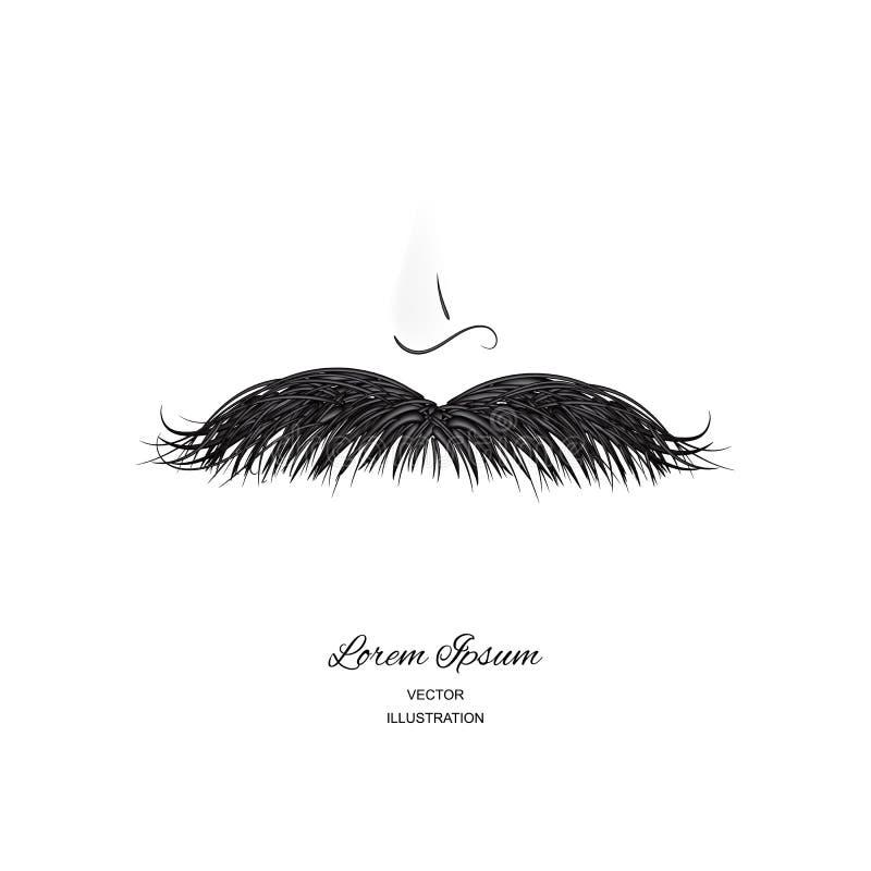 Curly black vintage mustache, moustache or whisker royalty free illustration