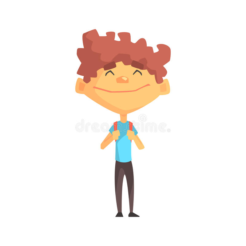 Curly Boy In Blue T-shirt Smiling, Primary School Kid, Elementary Class Member, Isolated Young Student Character. Elementary School Scholar On School Trip Flat royalty free illustration