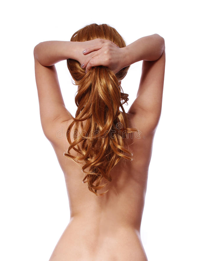 Curly brown hair, backside of young woman with long ponytail isolated royalty free stock photo
