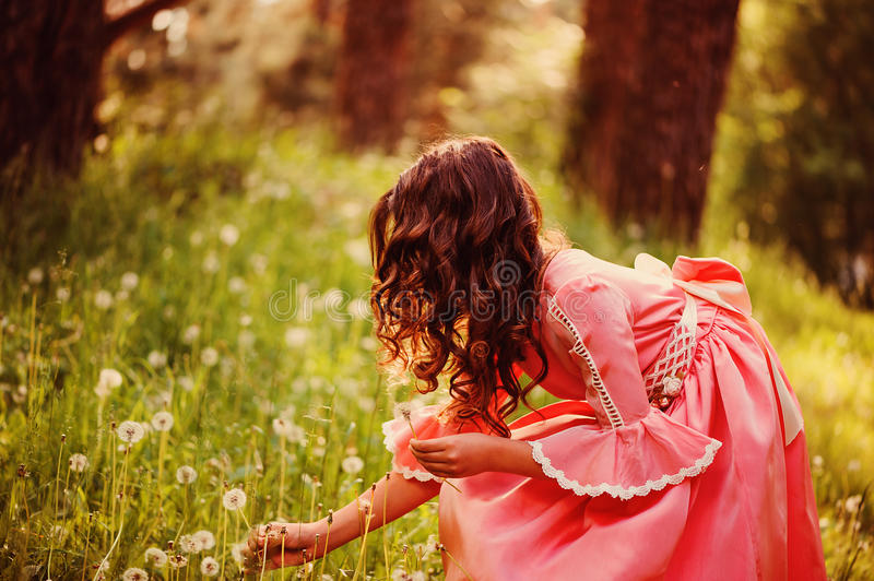 Curly child girl in pink fairytale princess dress gathering flowers in the forest. Curly child girl in pink fairytale princess dress gathering flowers in the stock photos