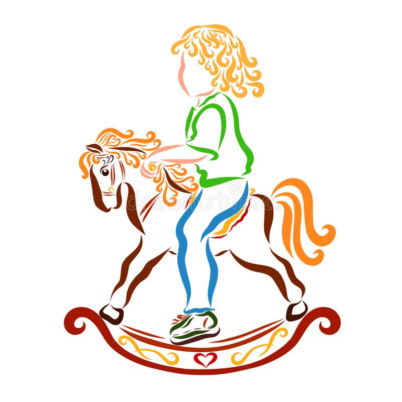 Curly cute baby on a rocking horse.  stock illustration