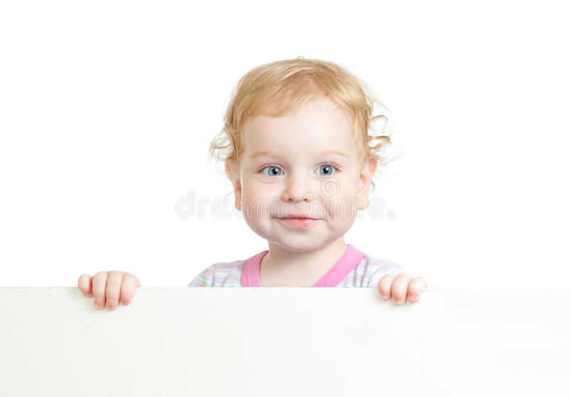 Curly cute child face holding advertising sign stock image