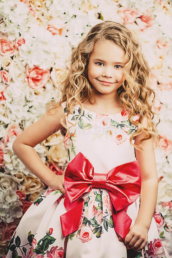 Curly cute girl royalty free stock photography