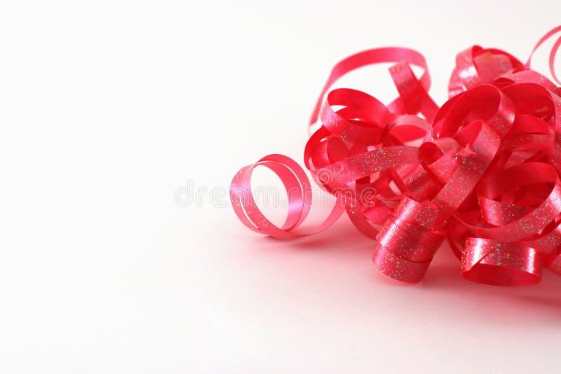 curly czerwone wstążki obraz stock