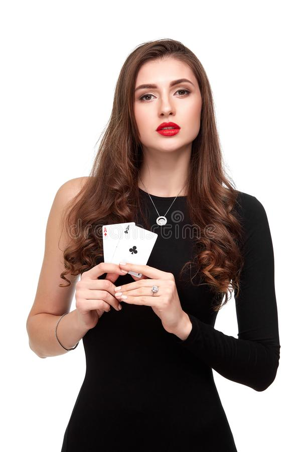 Free Curly Hair Brunette Posing With Two Aces Cards In Her Hands, Poker Concept Isolation On White Background Stock Images - 103311774