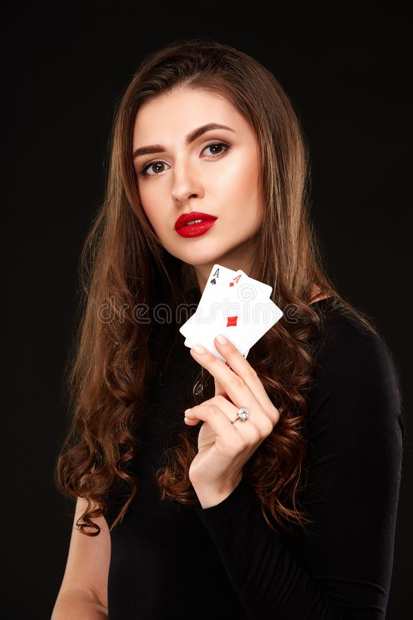 Free Curly Hair Brunette Posing With Two Aces Cards In Her Hands, Poker Concept Isolation On White Background Stock Photography - 104239922