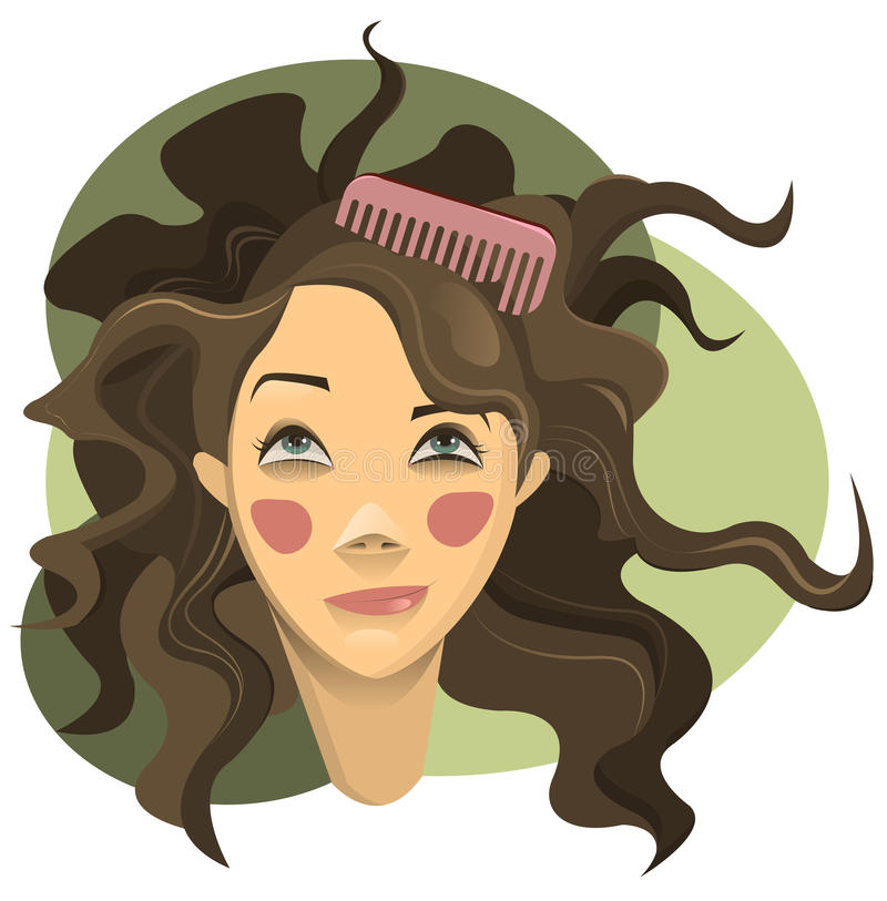 Curly hair. Curly girl with brown hair vector illustration