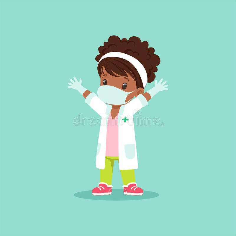 Curly-haired black baby girl in medical mask, gloves and white gown standing with hands up. Kid character playing doctor. Curly-haired black baby girl in medical vector illustration
