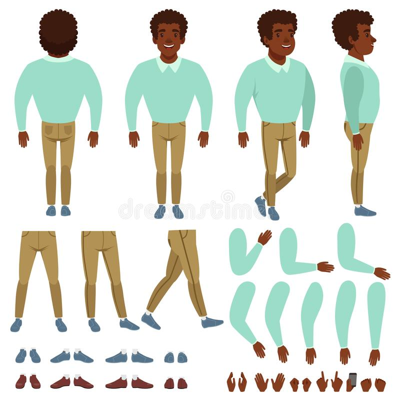Curly-haired black man constructor. Cartoon creation set with various views front, side, back. Body parts, different royalty free illustration