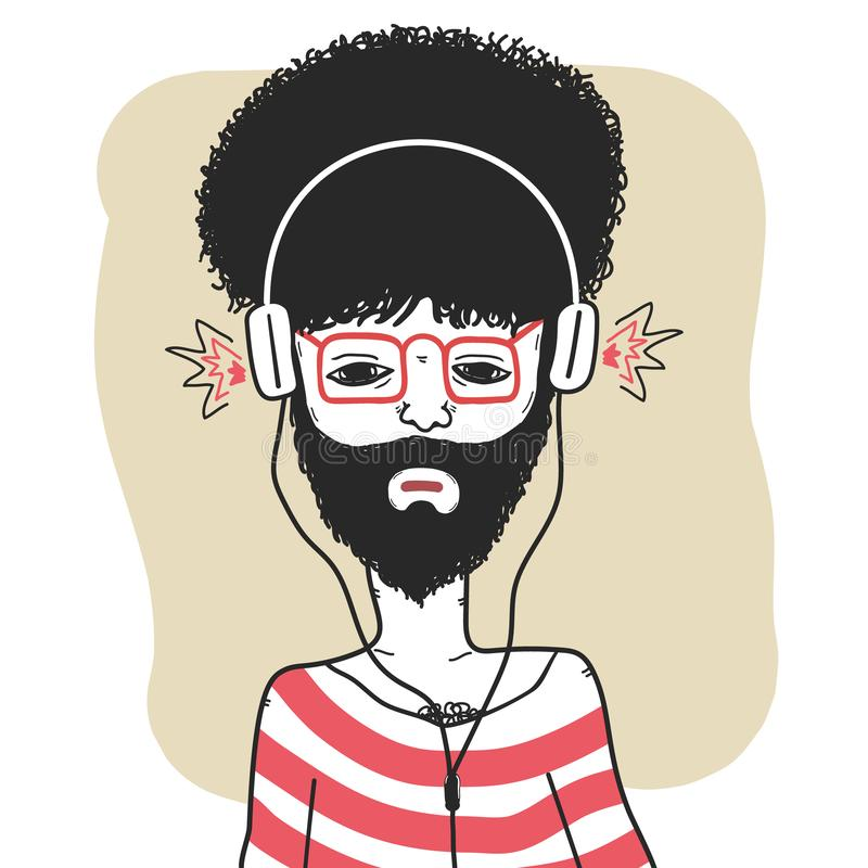 Curly haired guy in striped t shirt with headphones stock photography