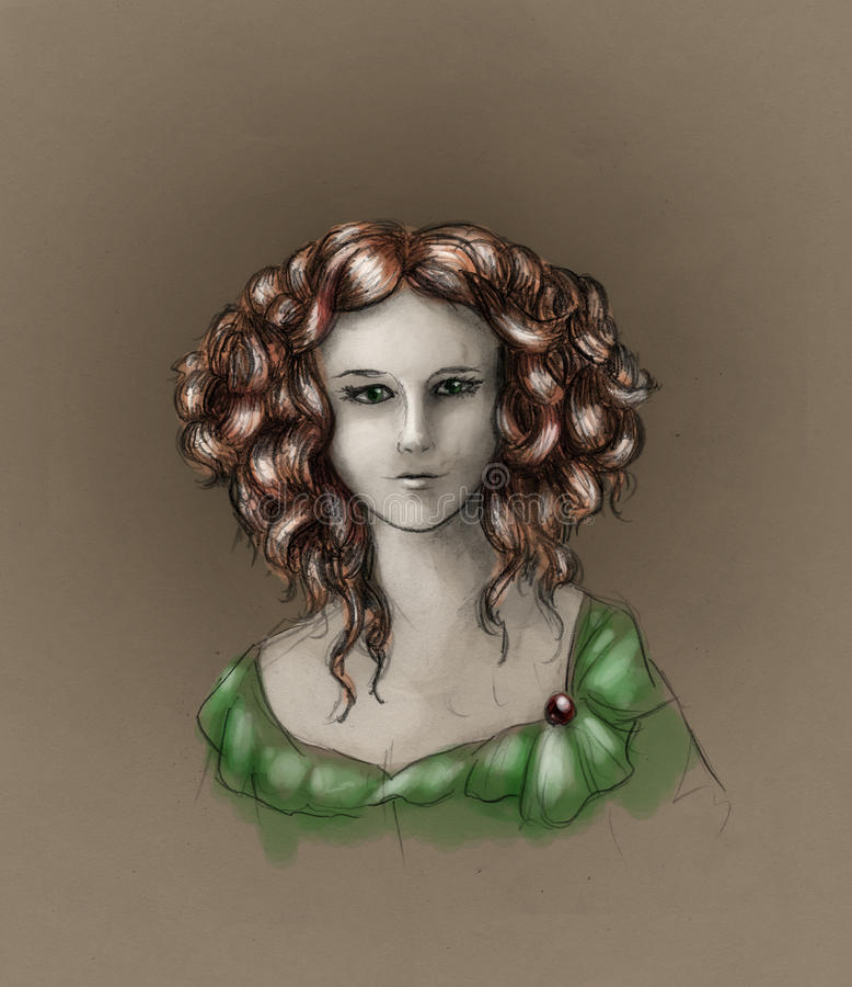 Download Curly-headed Girl Portrait - Color Stock Illustration - Image: 14931078