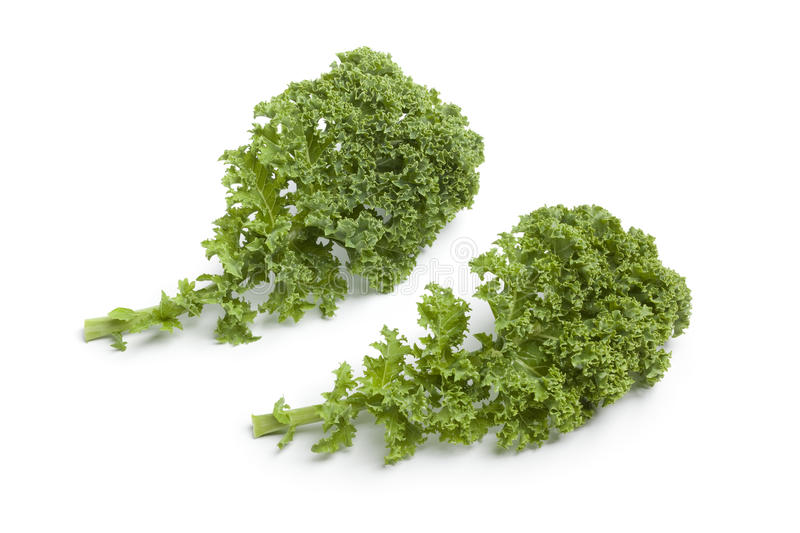 Curly kale leaves. On white background royalty free stock photo