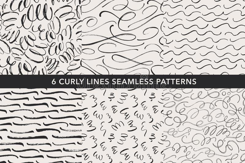 Curly lines hand drawn seamless patterns set. Vector ornaments for wrapping paper. Curly lines hand drawn seamless patterns set. Ink brush grunge vector texture royalty free illustration