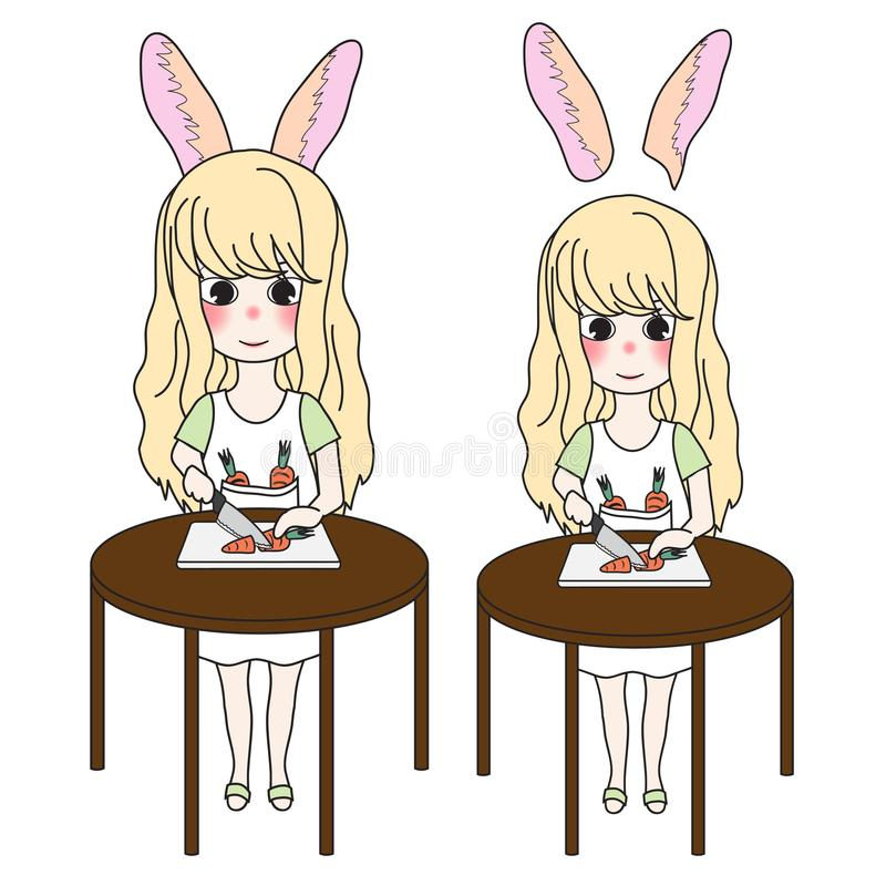 Curly Long Hair Girl with Rabbit Ears Cutting Carrot with Knife on Round Wooden Table. Vector Illustration. vector illustration