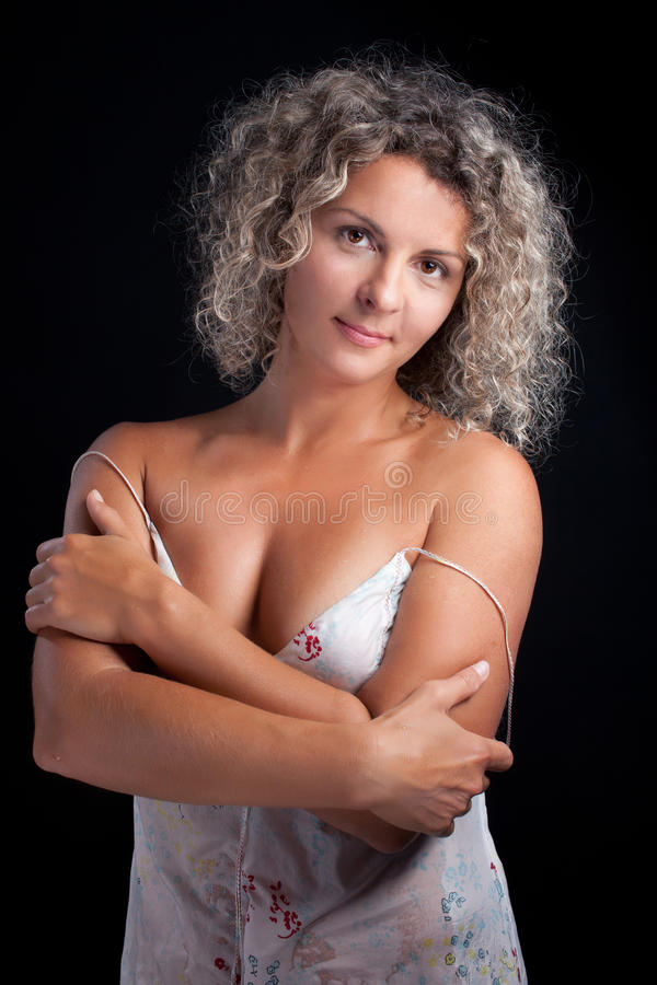 curly mature woman wearing lingerie stock image - image of happiness