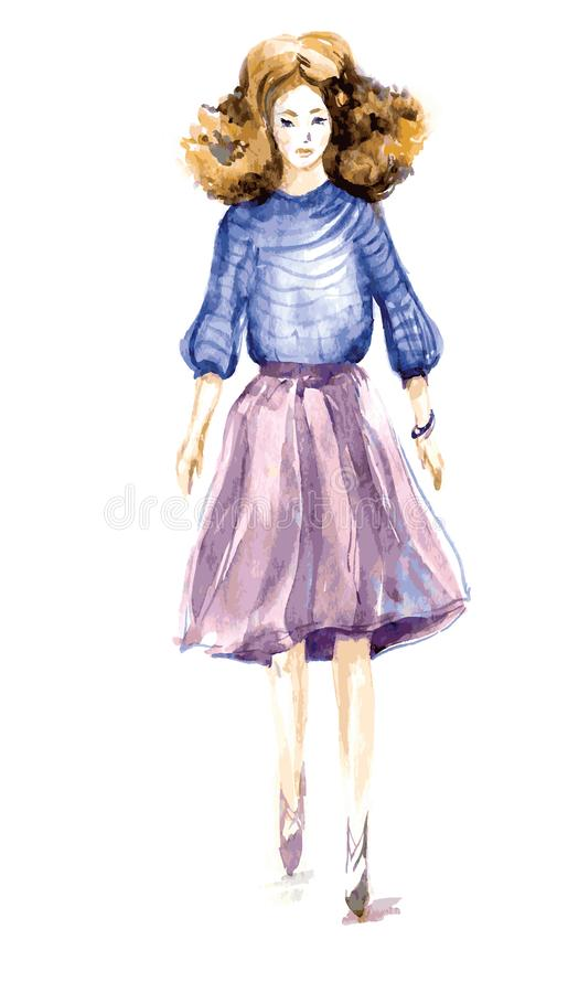 Curly red-haired girl in transparent fluttering petticoat, striped. Watercolor. vector. stock illustration