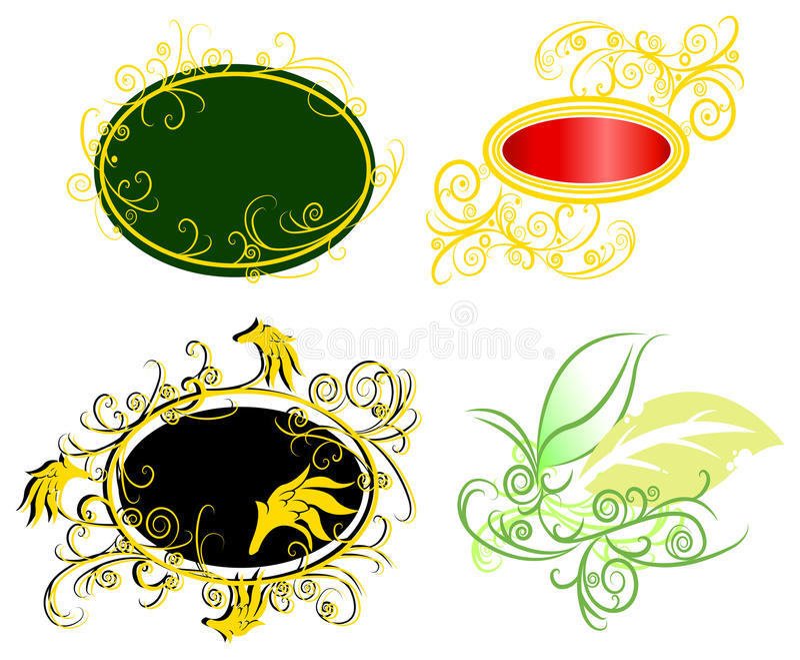 Download Curly Vine Fantasy Badge Set (vector) Stock Vector - Image: 34361984