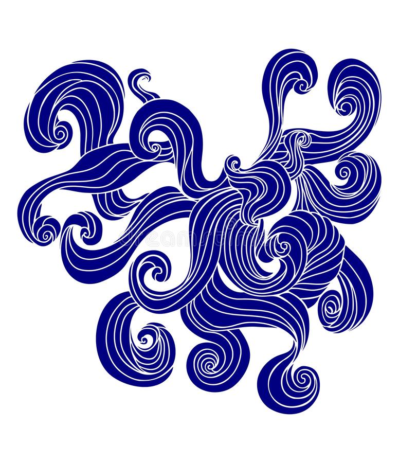 Curly waves silhouette. royalty free illustration