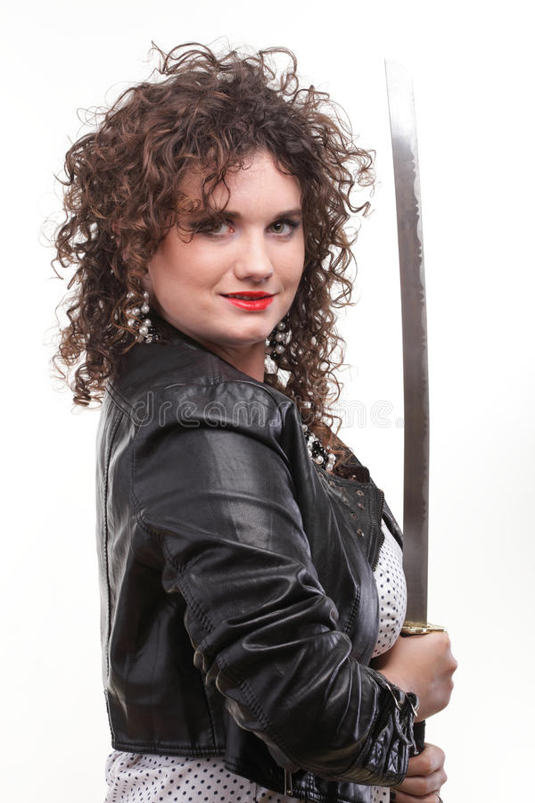 Download Curly Woman Curly Girl And Sword Stock Image - Image: 22885795