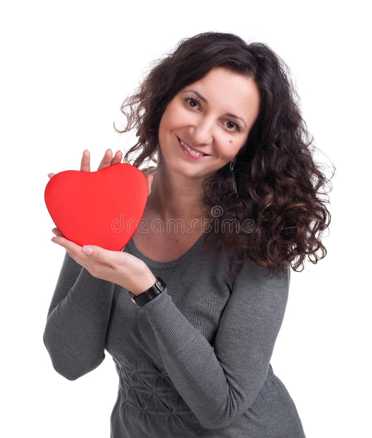 Download Curly woman holding  heart stock image. Image of human - 29120637