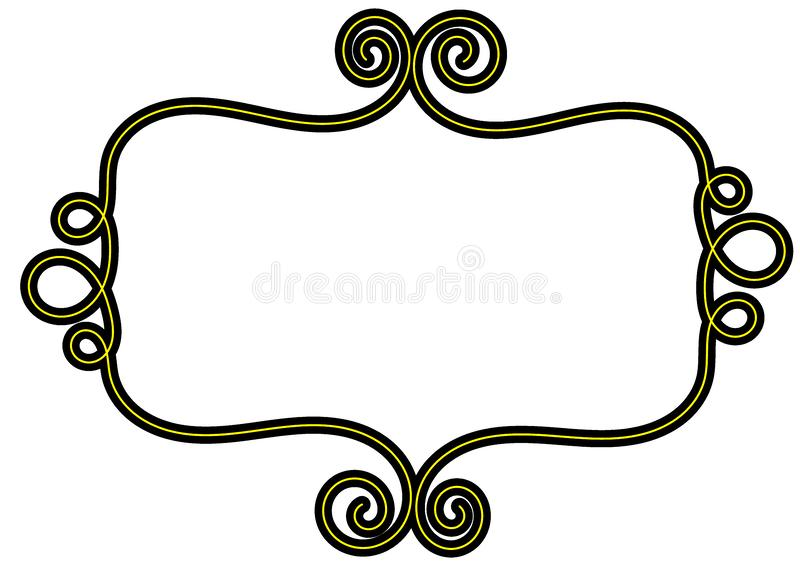 Curly Yellow Black frame border stock image