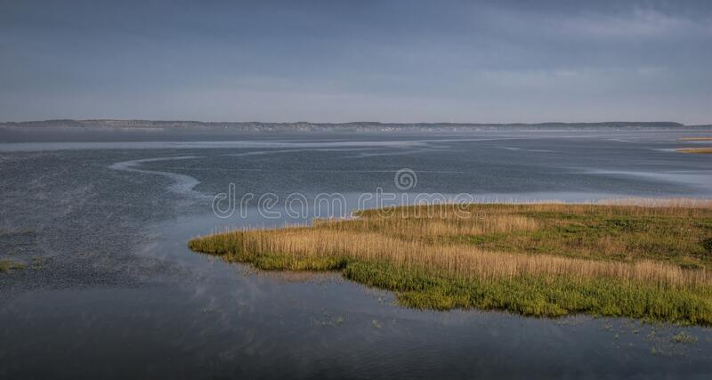 The Curonian Lagoon, aerial view royalty free stock photo