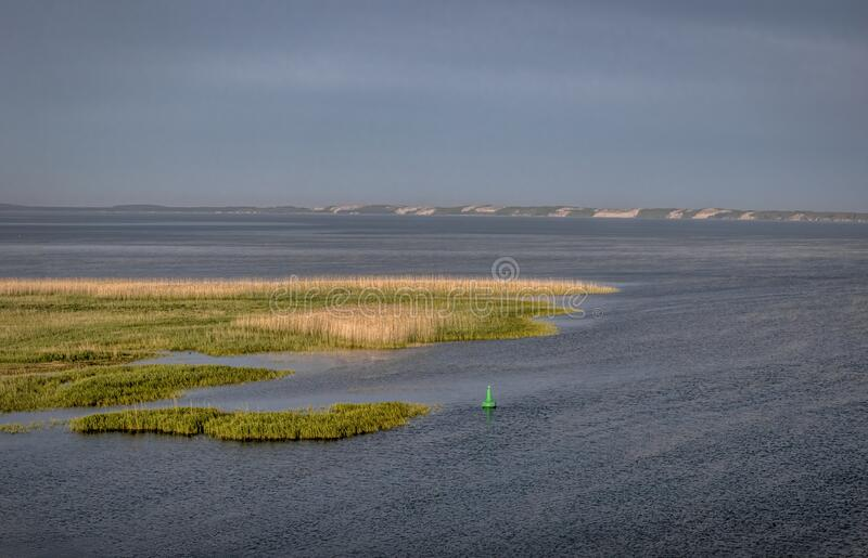 The Curonian Lagoon, aerial view stock photo