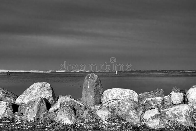 The Curonian Lagoon, black and white royalty free stock image