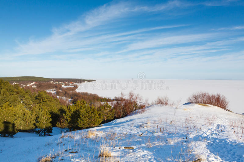 The Curonian Spit. Landscape of the Curonian Spit at winter time royalty free stock photo
