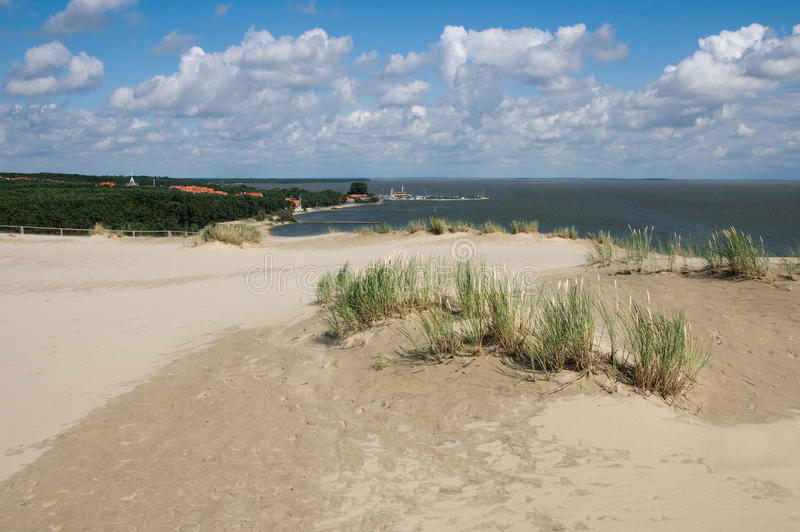 Curonian spit panorama. Looking down at Nida town from a top of a Parnidis dune at Curonian spit in Lithuania. UNESCO word heritage site stock photography