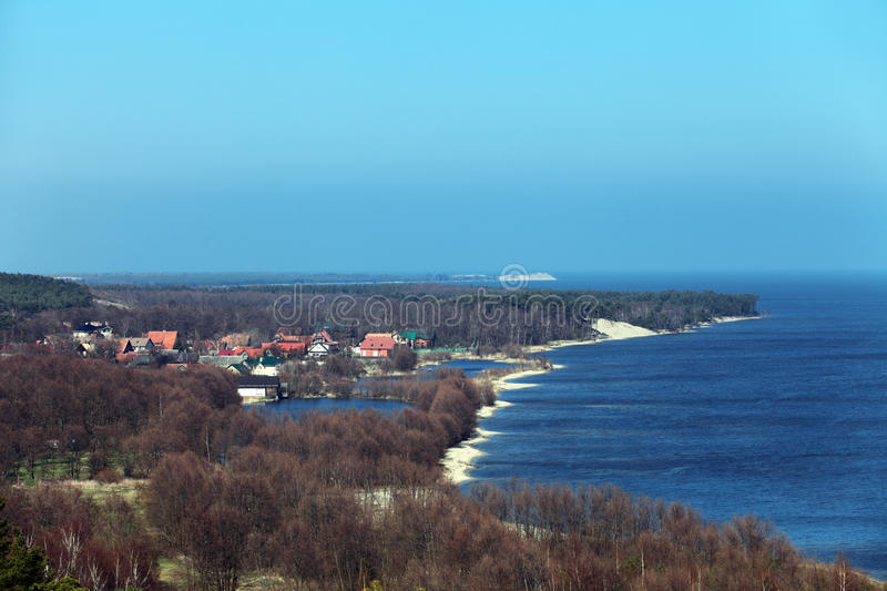 Curonian spit. Russia, the Curonian spit Baltic sea, a view of the village of Morskoe from the sand dunes royalty free stock image